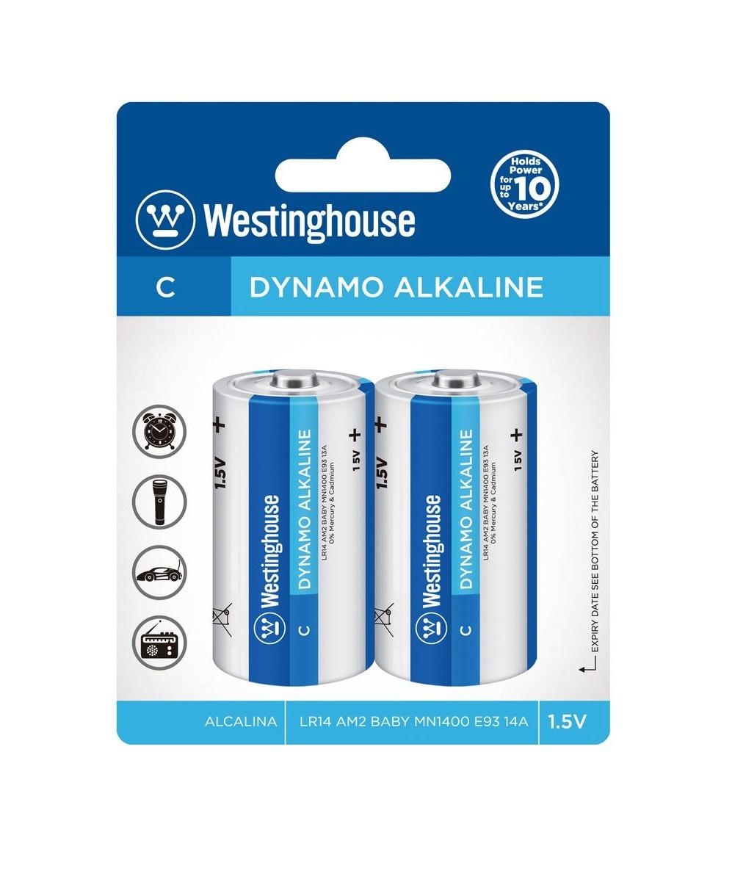 2ks Malý Monočlánek C Baterie Alkalická Westinghouse C/LR14 1,5V