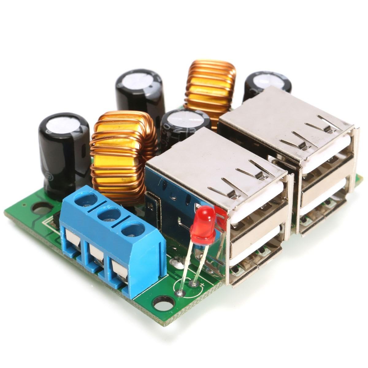 Step-down napájecí modul DC 12V 24V 40V na 5V 5A se 4 USB porty
