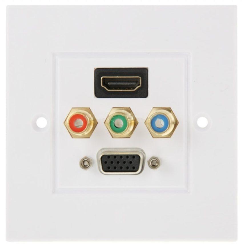 Panelový konektor HDMI+3xRCA+VGA - samice