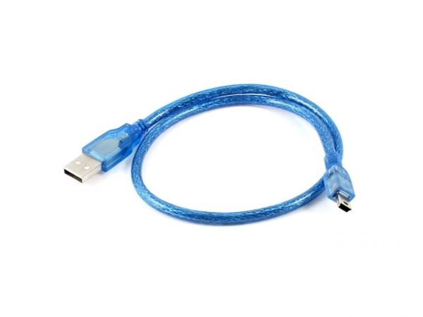 Kabel USB 2.0 A - USB B mini 0.3m - modrý