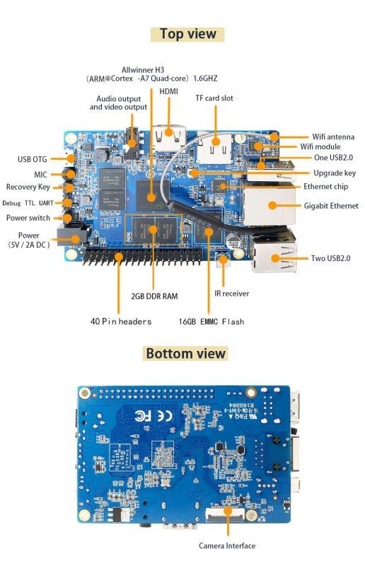 Orange Pi PC H3 Quad-core 1 6 GHz, 1G RAM Ubuntu Linux